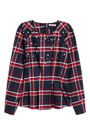 Beaded flannel blouse - Dark blue/Red checked - Ladies | H&M