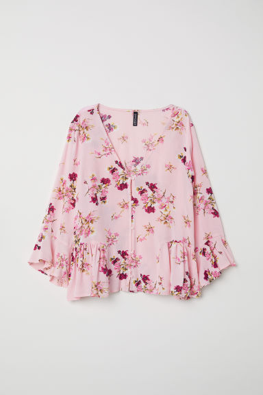 Flounced blouse - Pink/Floral - Ladies | H&M
