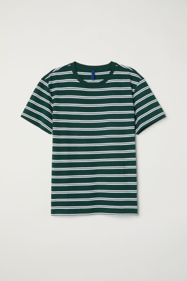 Striped T-shirt - Dark green/White striped - Men | H&M