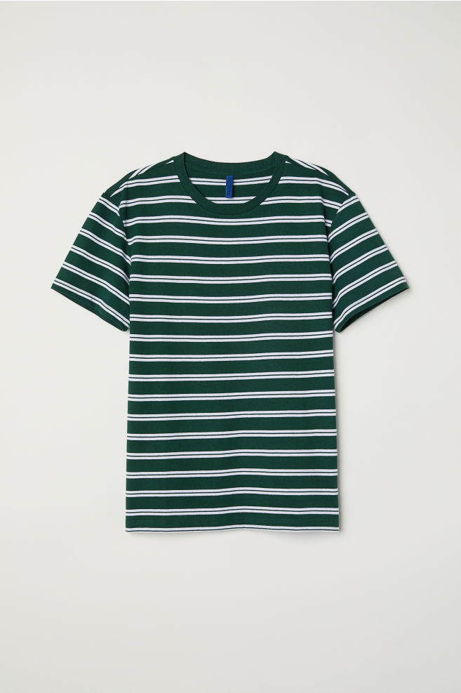 ace28793116cb Striped T-shirt - Dark green white striped - Men