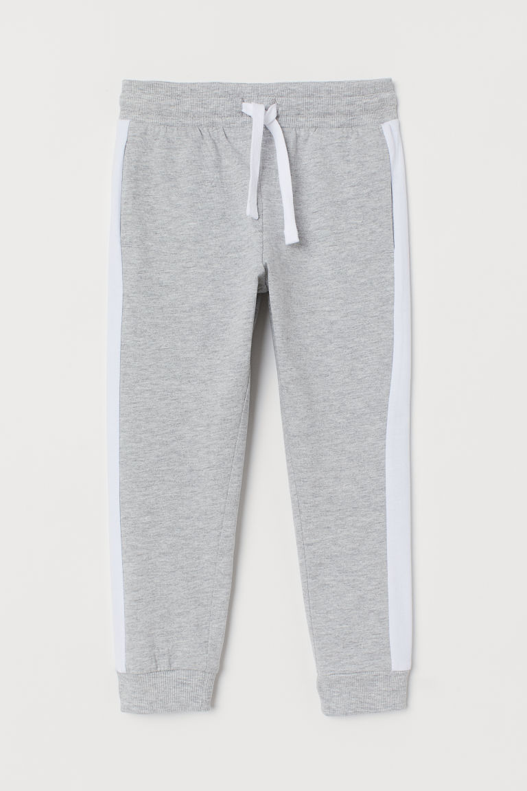 Sweatpants with side stripes - Light grey marl/White - Kids | H&M