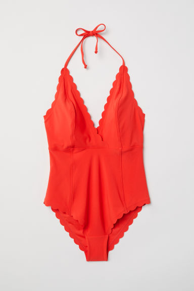 Halterneck swimsuit - Coral red - Ladies | H&M