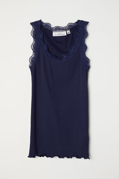 Ribbed lace-trimmed vest top - Dark blue - Ladies | H&M CN