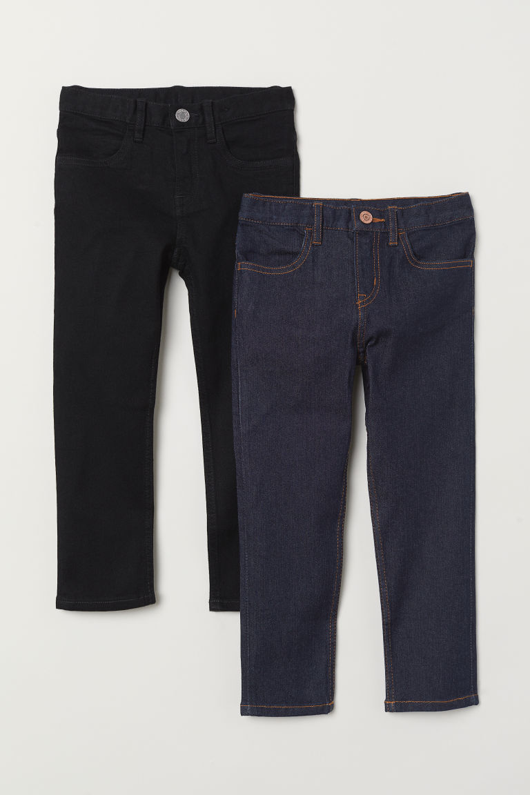 2-pack Slim Fit Jeans - Black/Dark denim blue - Kids | H&M CN