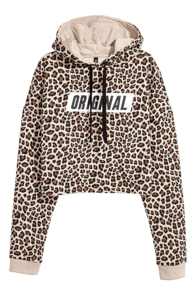 d67849179704f Sweat à capuche court - Beige motif léopard -