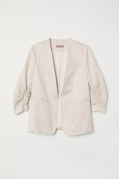 H&M+ Linen-blend jacket - Light beige - Ladies | H&M CN