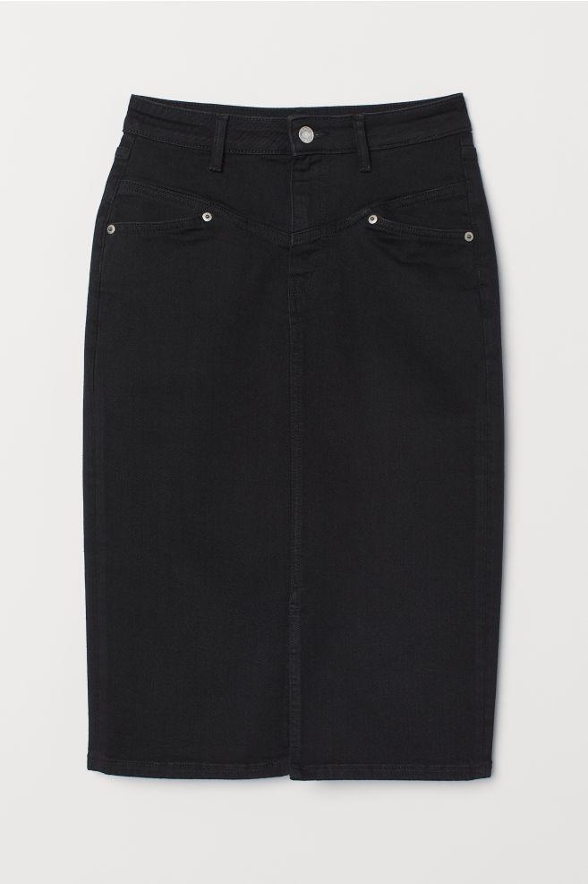 894a40fdda Knee-length Denim Skirt - Black -   H&M ...