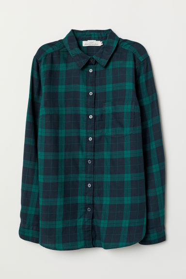 Checked shirt - Green/Checked - Ladies | H&M CN