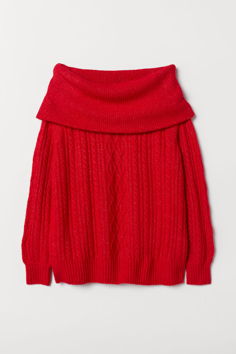 Off-the-shoulder jumper - Red - Ladies | H&M