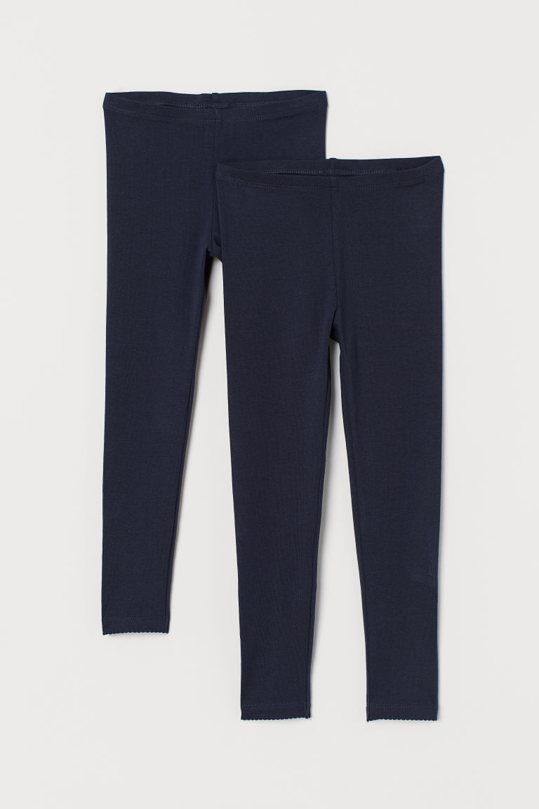 2-pack leggings - Dark blue/Scalloped - Kids | H&M IE