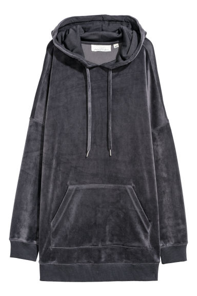 Velour hooded top - Dark grey -  | H&M GB