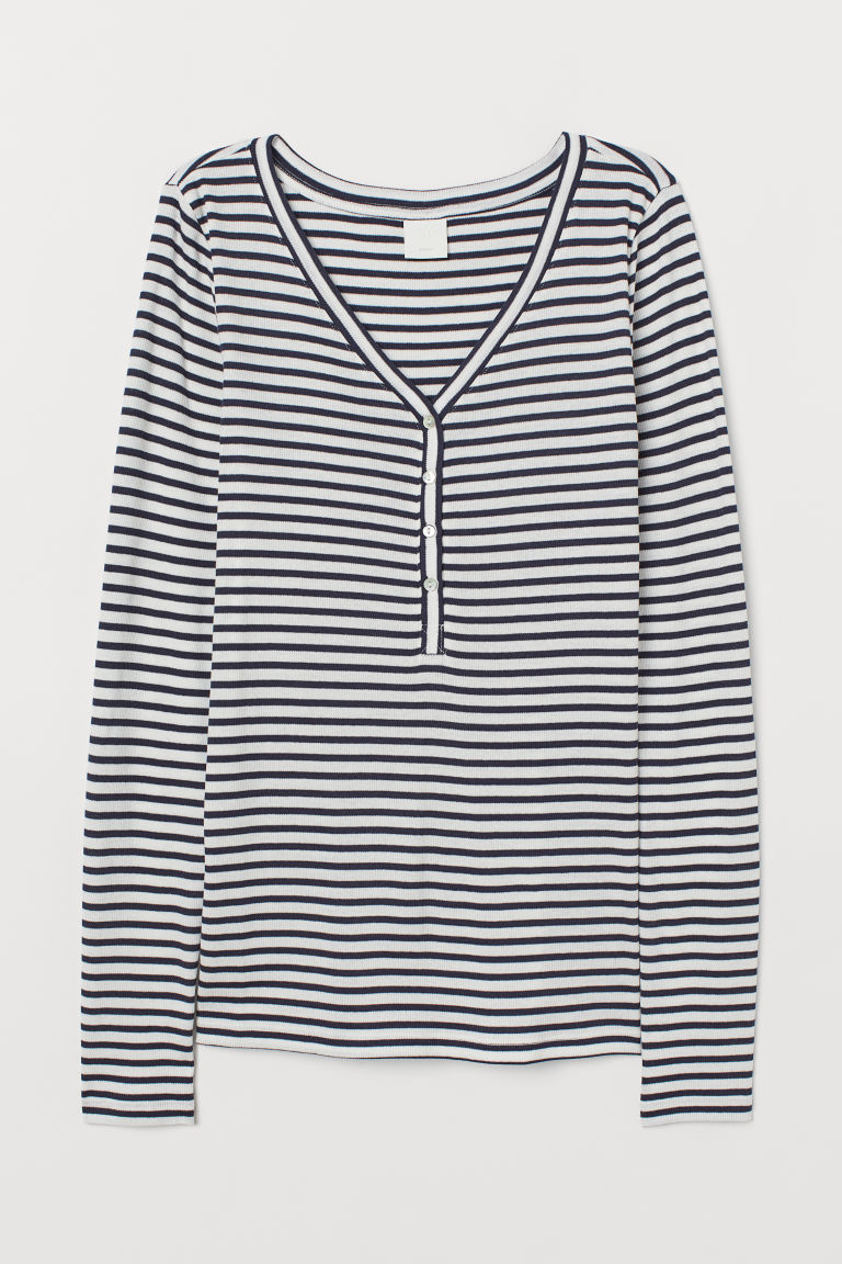 V-neck top - Dark blue/White striped - Ladies | H&M CN