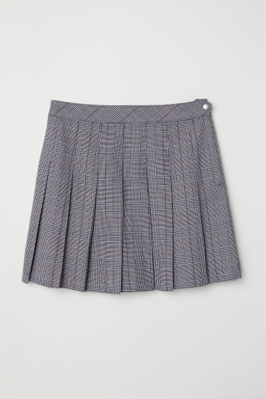 Pleated skirt - Grey/Checked -  | H&M