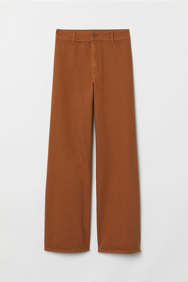 d9b3927827 ... Wide-leg Twill Pants - Rust brown - Ladies | H&M ...