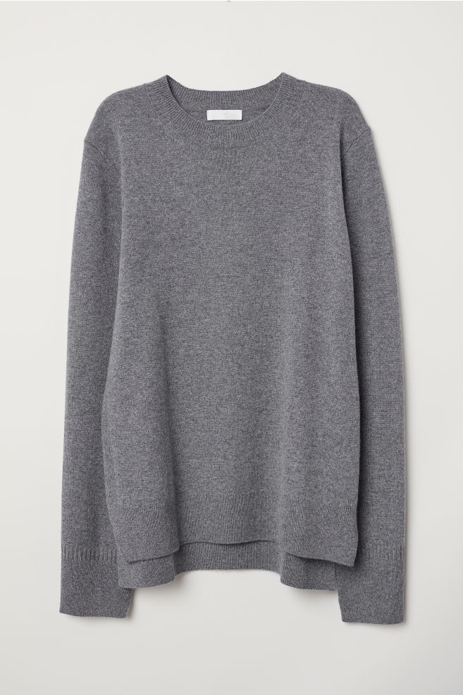 f3e4fded9aa5f Fine-knit Cashmere Sweater - Gray melange - Ladies | H&M ...