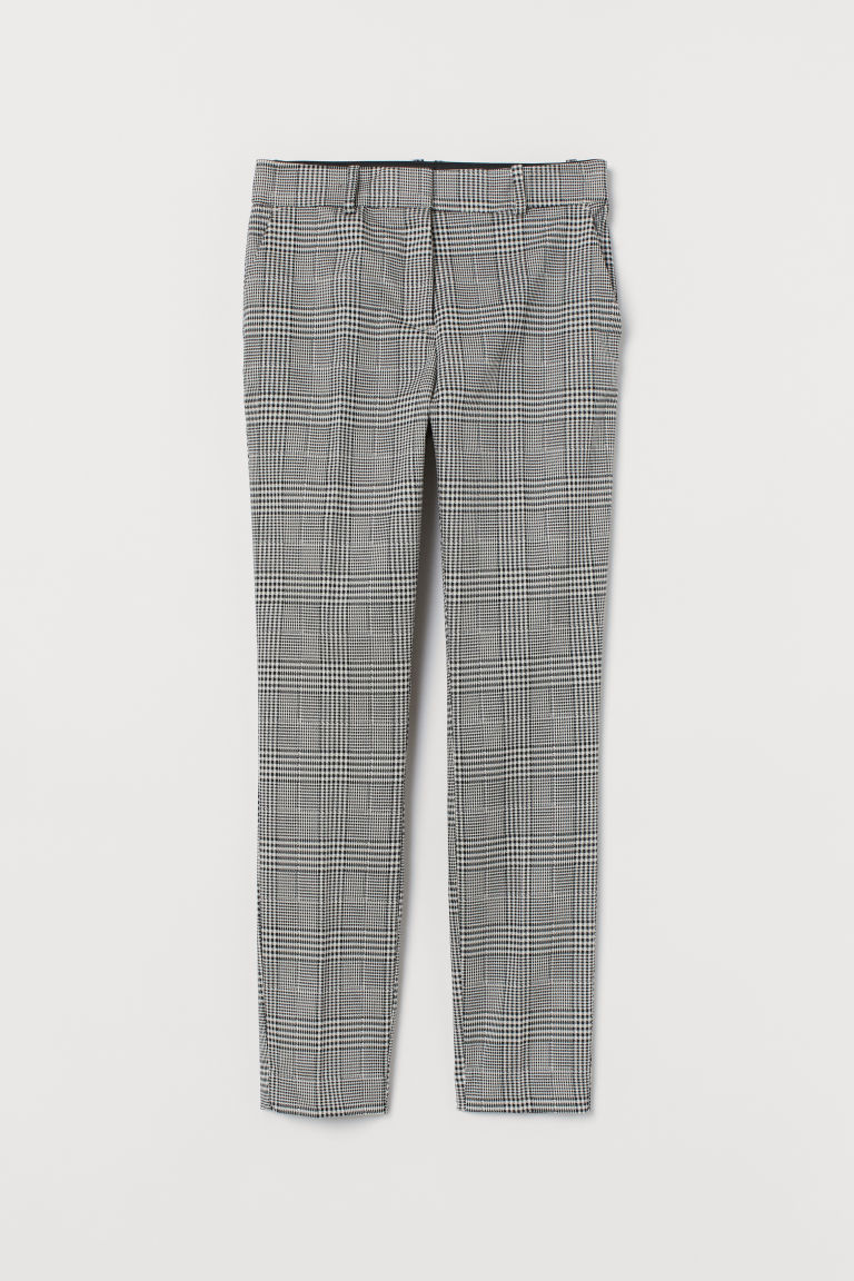 Cigarette trousers - White/Black checked - Ladies | H&M