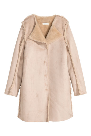 Imitation suede coat - Camel -  | H&M
