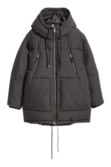Padded parka with a hood - Black -  | H&M GB