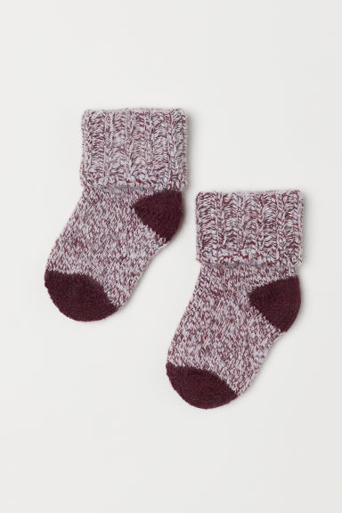 Thick wool-blend socks - Burgundy - Kids | H&M CN