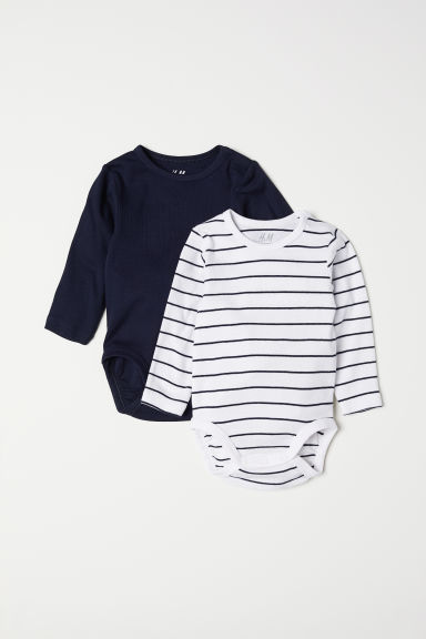 2-pack long-sleeved bodysuits - Dark blue/Striped - Kids | H&M