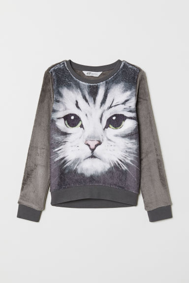 Pile sweatshirt - Dark grey/Cat - Kids | H&M CN
