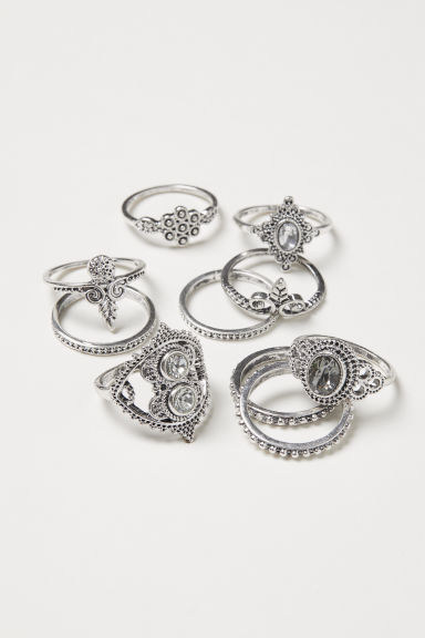 10-pack rings - Silver-coloured - Ladies | H&M CN