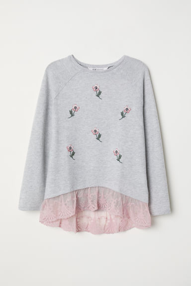 Fine-knit jumper with lace - Light grey marl/Flowers -  | H&M CN
