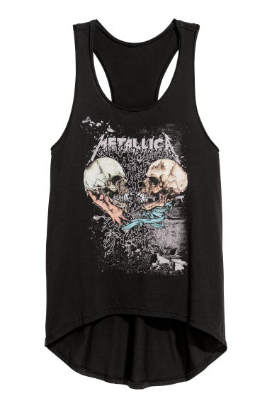 Vest top - Black/Metallica - Ladies | H&M
