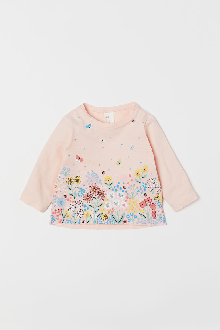 Printed top - Powder pink/Butterflies - Kids | H&M