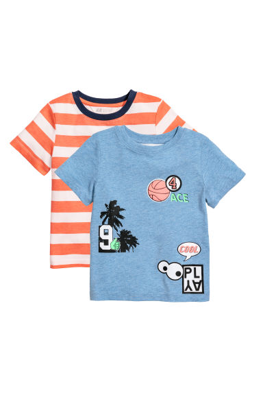 Lot de 2 t-shirts - Rouge/blanc rayé - ENFANT | H&M BE