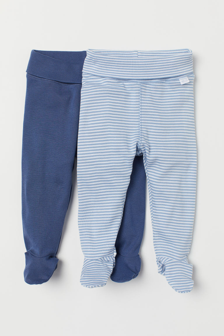 2-pack trousers with feet - Blue/White striped - Kids | H&M CN