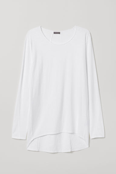 Long jersey top - White - Men | H&M