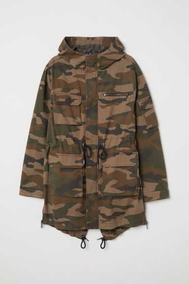 Cotton twill parka - Khaki green/Patterned -  | H&M