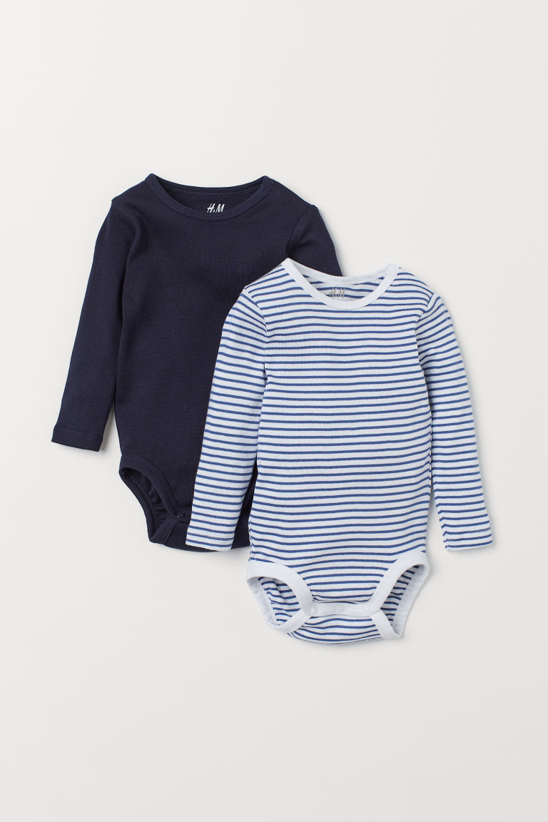 2-pack long-sleeved bodysuits - Dark blue/Striped - Kids | H&M IN