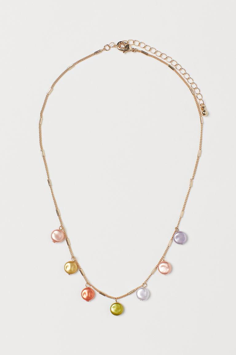 Short Necklace with Pendants - Gold-colored/powder pink - Ladies | H&M US