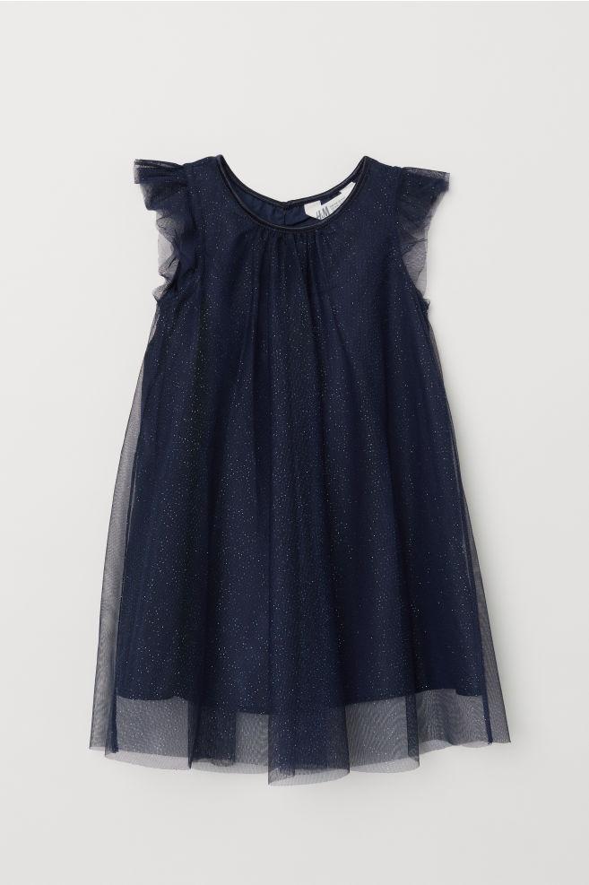 59d760af4 Glittery tulle dress - Dark blue - Kids | H&M ...
