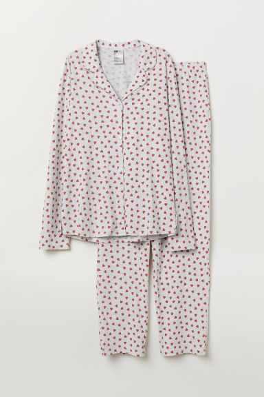 Patterned pyjamas - Light grey marl/Hearts - Ladies | H&M