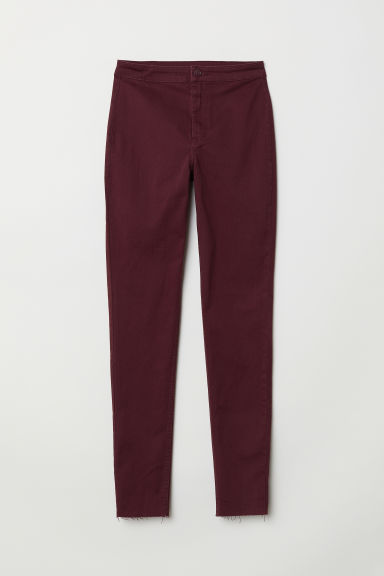 Broek van keper - Bordeauxrood -  | H&M BE
