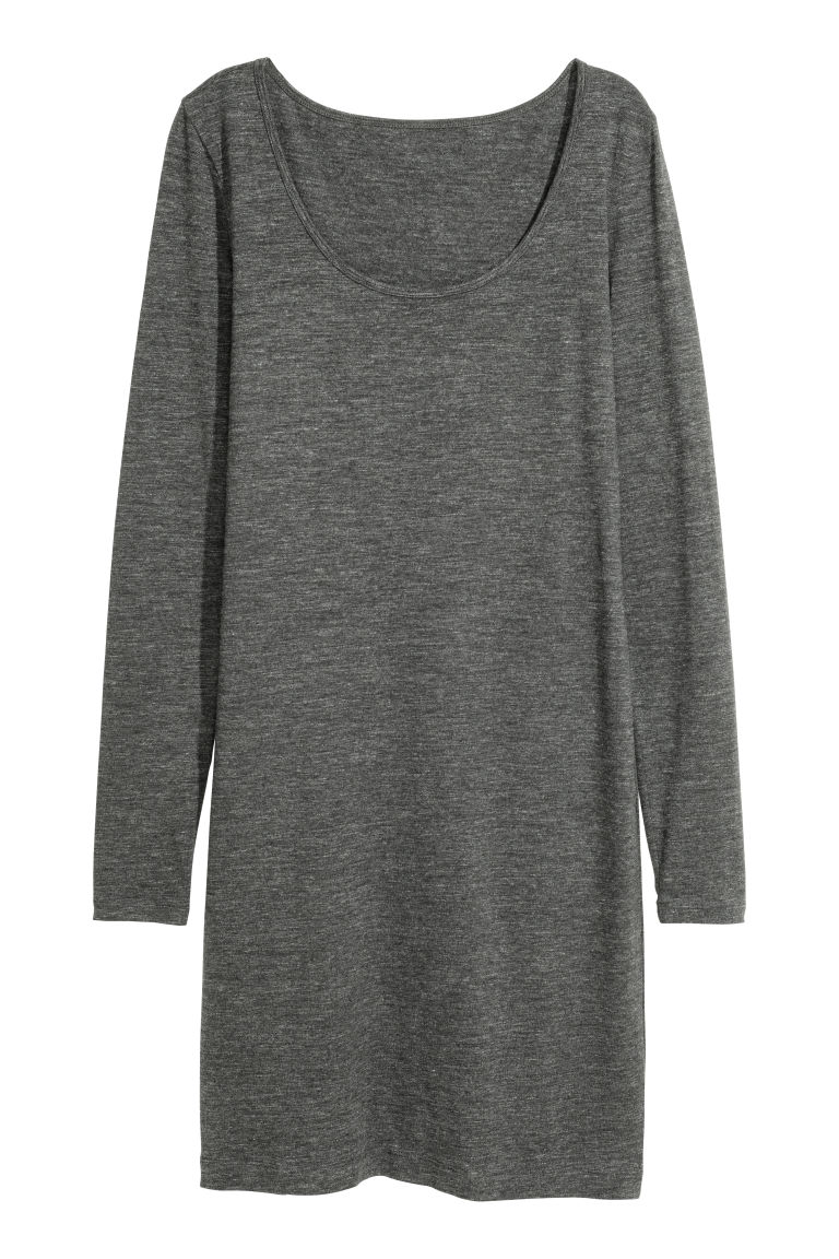 Short Jersey Dress - Dark gray melange - Ladies | H&M CA