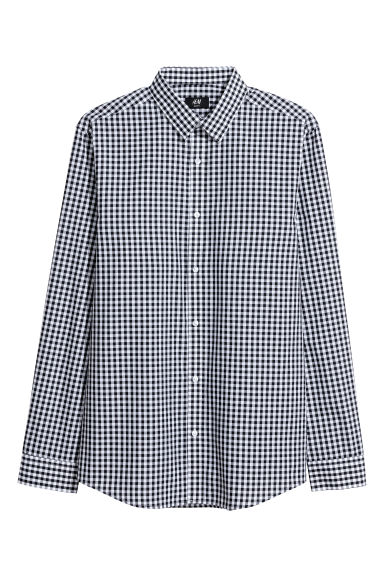 Easy-iron shirt Slim fit - Black/White checked - Men | H&M