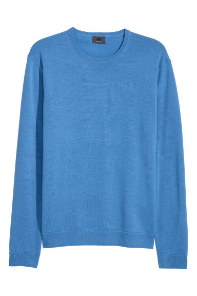 Merino wool jumper - Blue - Men | H&M