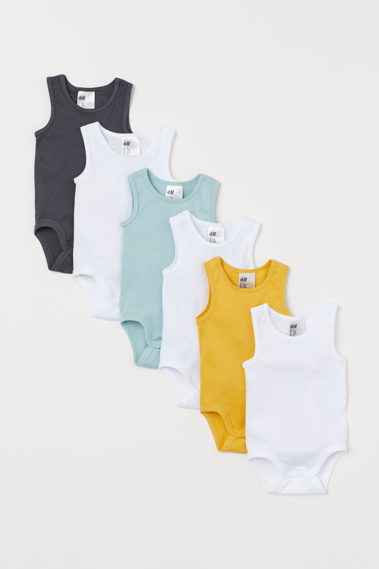 6-pack sleeveless bodysuits - Yellow - Kids | H&M CN