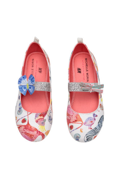 Patterned ballet pumps - White/Butterflies - Kids | H&M