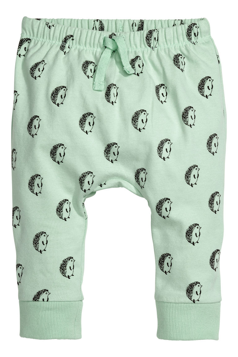 Jersey trousers - Light green/Hedgehogs - Kids | H&M