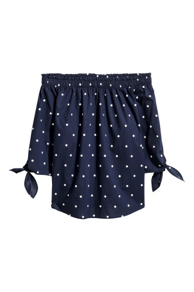 Off-the-shoulder top - Dark blue/Spotted - Ladies | H&M CN