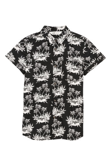 Short-sleeved shirt - Black/Palm trees - Kids | H&M