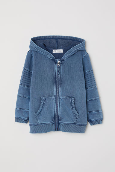 Washed hooded jacket - Blue washed out -  | H&M