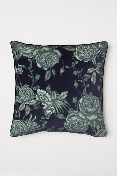 Velvet cushion cover - Black/Roses - Home All | H&M CN