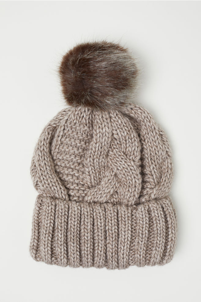 Cable-knit Hat - Light taupe - Ladies  1e2afa85a3b