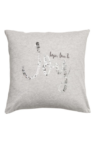 Sequined cushion cover - Light grey/Silver-coloured - Home All | H&M CN